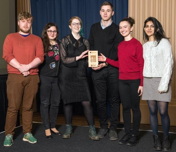 Students from Shrubhill Halls win one of the 1st gold student residence awards presented by Vice President Community Ollie Glick