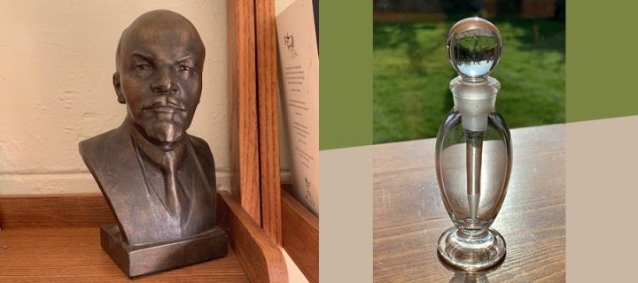 Bust of Lenin and a glass perfume bottle