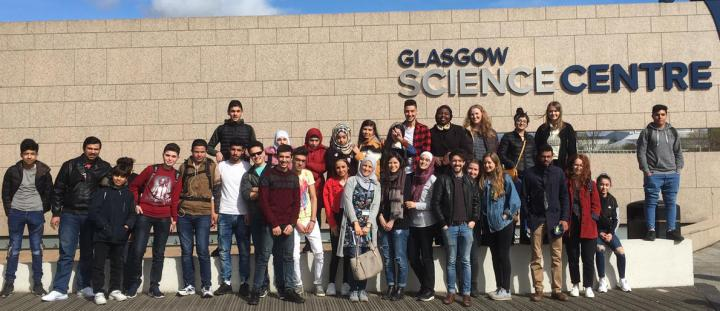 Syrian refugees with Edinburgh students.