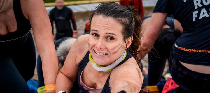 Louise on the Tough Mudder Pyramid