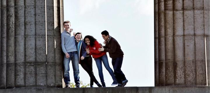 undergraduate students having fun at the Calton Hill columns