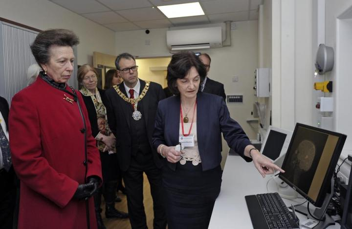Prof Joanna Wardlaw explains to Princess Anne the features of our 3.0T MR unit at the Edinburgh Imaging Facility RIE official opening on 14th February 2017.