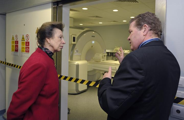 Prof van Beek explaining to Princess Anne, the research potential of the Edinburgh Imaging Facility QMRI.