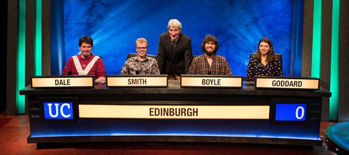 Edinburgh's University Challenge team on the set