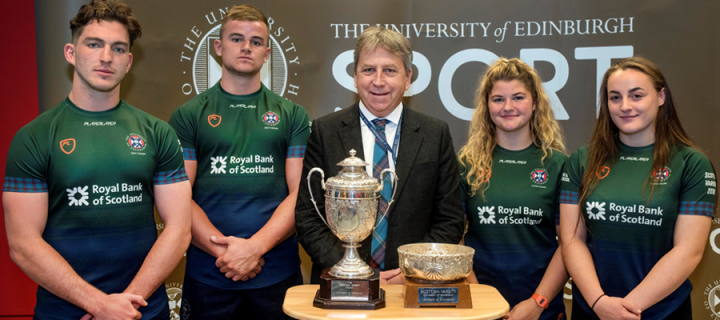 Principal Peter Mathieson met with players from the University's rugby clubs ahead of the Scottish Varsity match