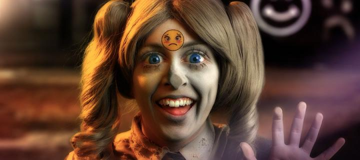"""Still image from Rachel Maclean's """"Feed Me"""" video"""
