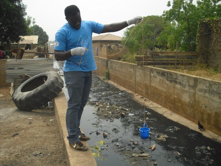 Sewage sampling in Tamale, Ghana