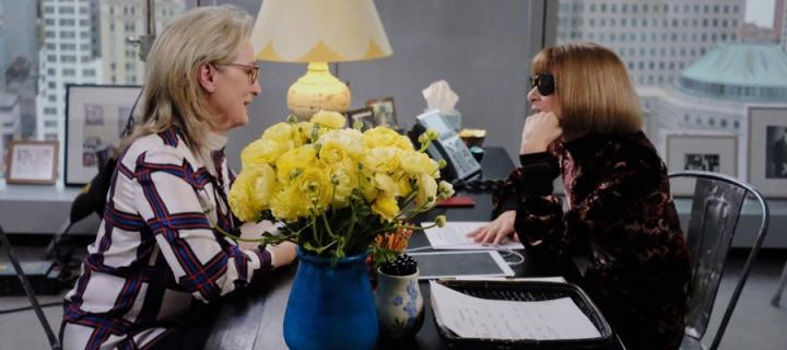 A still from the Webby award winning film by Kimberly Arms showing Meryl Streep and Anna Wintour