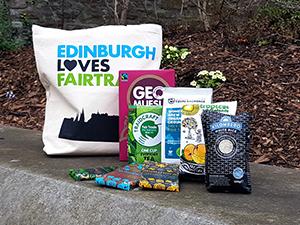 Fairtrade Fortnight 2017 give away hamper (coffee, chocolate, tea, muesli, fruit, rice and a Edinburgh Loves Fairtrade tote bag)