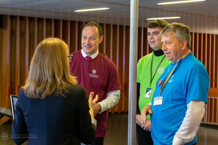 Peter Mathieson, Gavin MacLachlan and Andrew Wilson meet staff at Welcome Week 2019