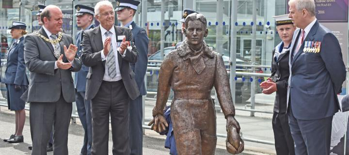 Eric Winkle Brown statue at airport