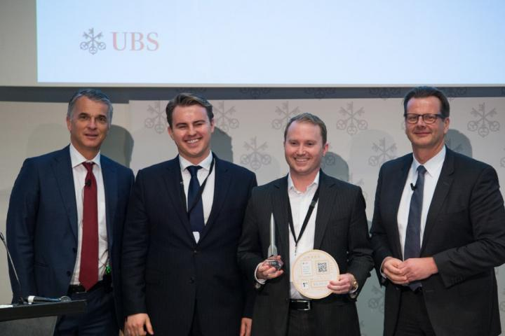 UBS CEO Sergio Ermotti , Aesthetic Integration co-founders Denis Ignatovich and Grant Passmore, and UBS CIO Oliver Bussmann