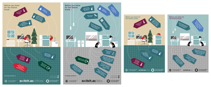 Winter shutdown poster preview - offices A3 and A4, labs A3 and A4