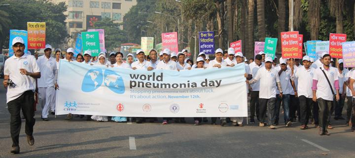Participants at the World Pneumonia Day 2018 rally in Bangladesh