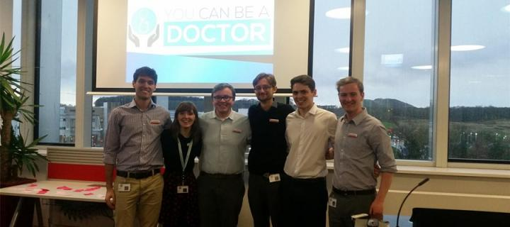 Callum Cruickshank and fellow students at a student organised event.
