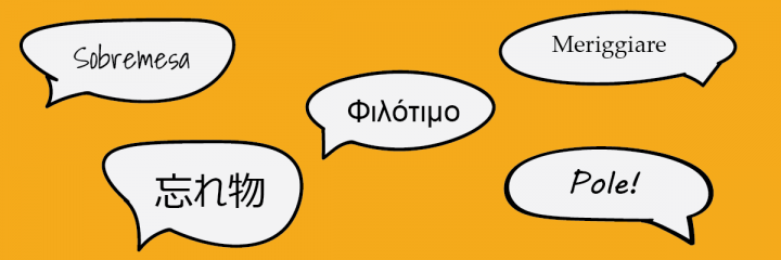 A selection of words in foreign languages in speech bubbles