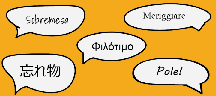 Words in foreign languages in speech bubbles