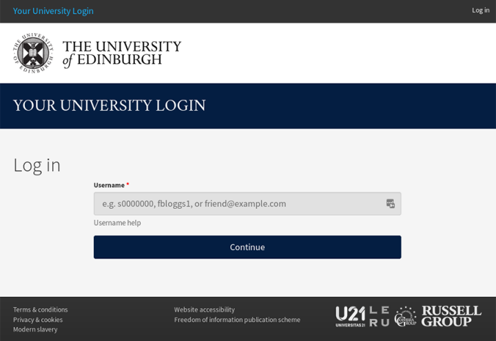 Your University Login starting screen showing the username prompt.