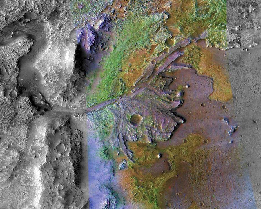 Jezero krater deltaet på Mars(credit: NASA/JPL-Caltech/MSSS/JHU-APL)