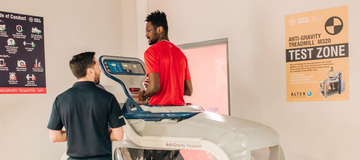 Researcher and subject talk whilst using the Alter-G Anti-Gravity treadmill