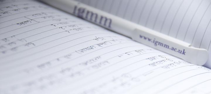 Pen lying on notepad with www.igmm.ac.uk written on pen clip