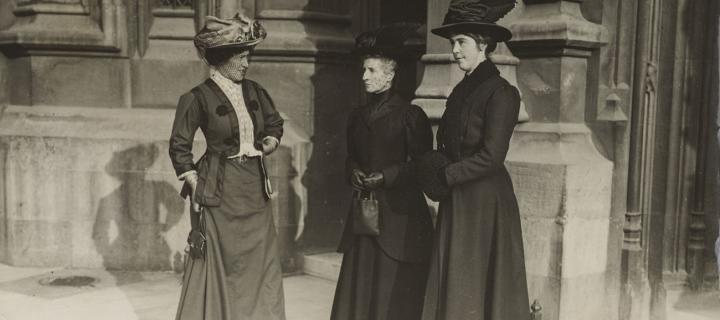 Photograph of Frances Simson, Chrystal MacMillan and Frances Melville outside the House of Lords. November 1908