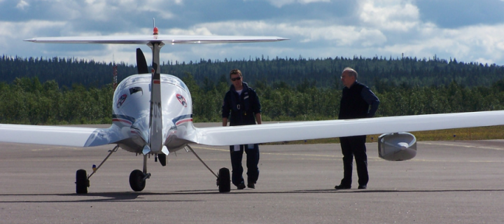 Dimona aircraft on the ground in sweden
