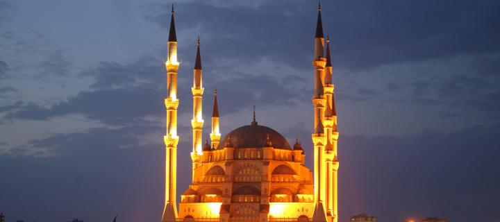 Adana Mosque at night