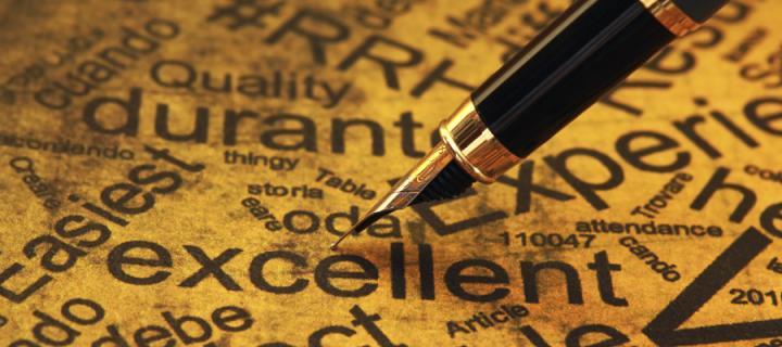Pen nib on word cloud