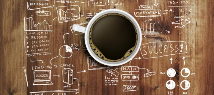 Coffee on a working table