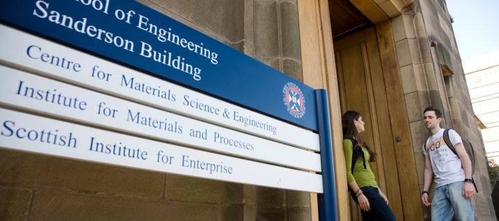 The signage for the School of Engineering outside the Saunderson Building