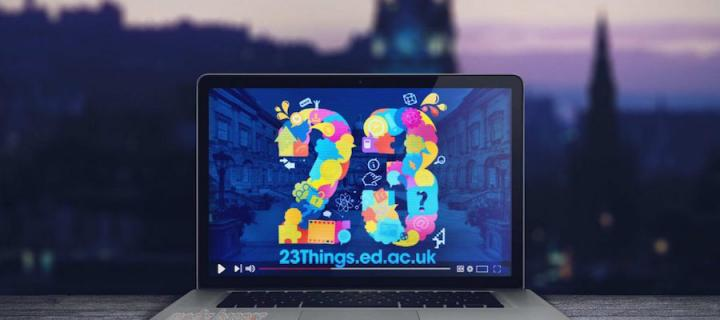 Laptop showing 23 Things icon