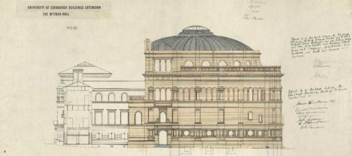 Blueprint of proposed plan to extend mcewan hall