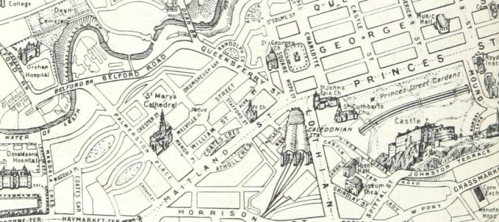 Map from Picturesque Edinburgh - Copyright British Library Public Domain Mark 1.0