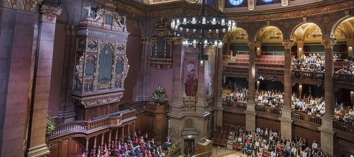 Inside McEwan Hall looking down on graduation ceremony photographed from high gallery