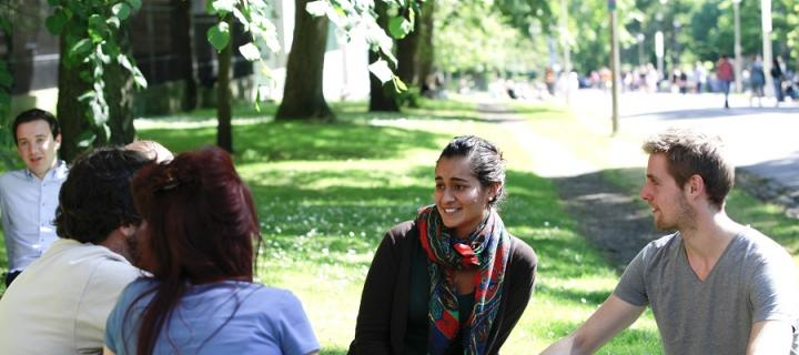 Postgraduate students in Middle Meadow Walk