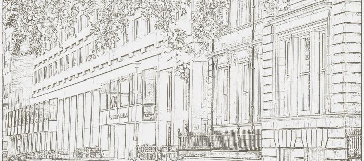 a drawing of the Hugh Robson Building