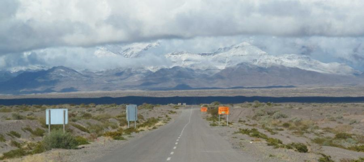 A road leading to the eastern side of the Andes in Argentina