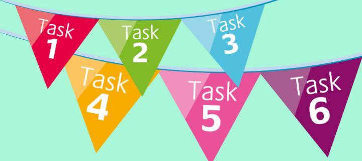 Essential Top 6 Tasks bunting logo