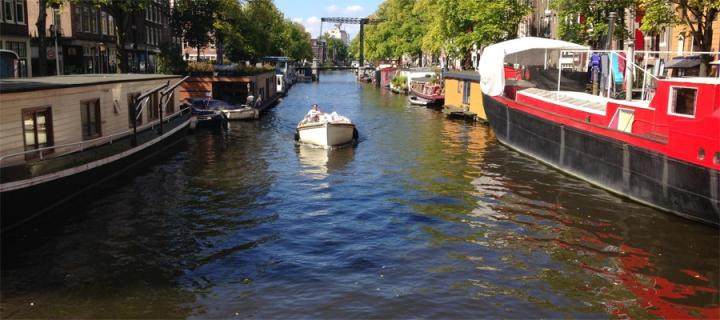 motorboat on Amsterdam canal