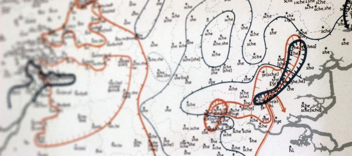 Detail from a map of the UK showing different pronunciations of the same word