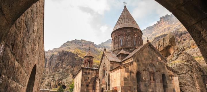 Armenian church through doorway