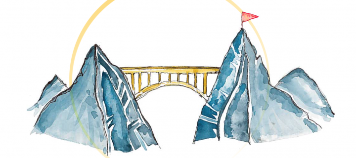 Image of bridge between two mountains heading upwards towards a target flag.