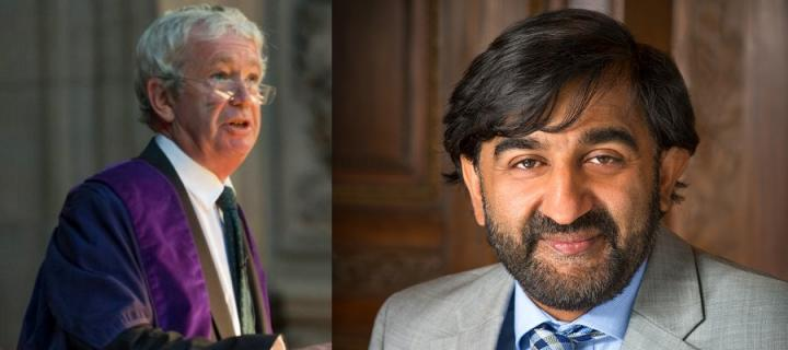 Principal Sir Timothy O'Shea and Professor Aziz Sheikh
