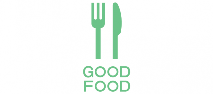 SRS Good Food green on white banner