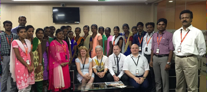 Digitising Scotland project team with employees at Mobius knowledge services Chennai