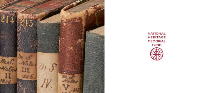 Some of Lyell's notebooks next to the NMHF logo