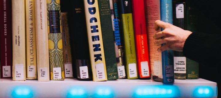 Image of books on an electronic shelf