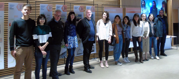 Bristo square living lab project students and tutors at exhibition