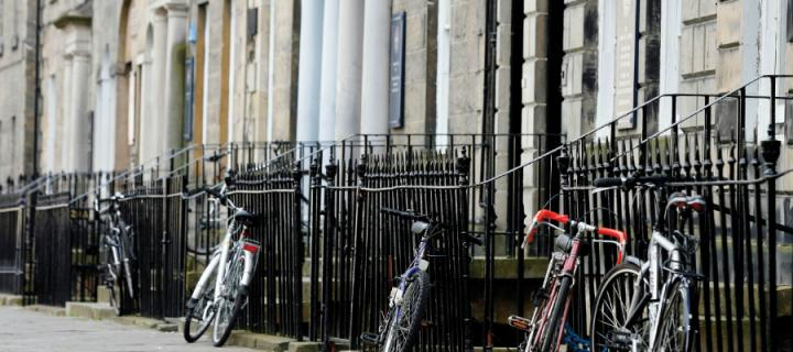 Bicycles parked on Buccleuch Place in Edinburgh